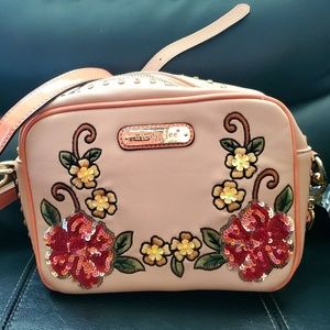 Nicole Lee Peach colored Floral Sequin Crossbody